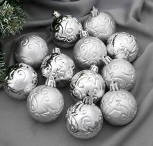 "Набор шаров пластик d-5 см, 12 шт ""Звездопад"" серебро"