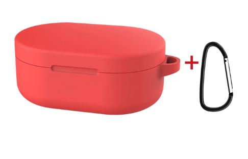 Силиконовый чехол для наушников Xiaomi Redmi Airdots c карабином ( Красный )