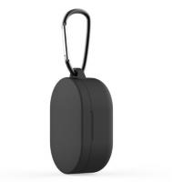 Силиконовый чехол для наушников Xiaomi Redmi Airdots c карабином ( Черный )