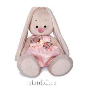 Зайка Ми Большой в розовом платье с цветком 34 см