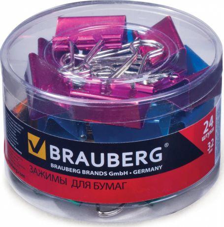 Зажимы для бумаг Brauberg, комплект 24 штук, 32 мм, цвет металлик
