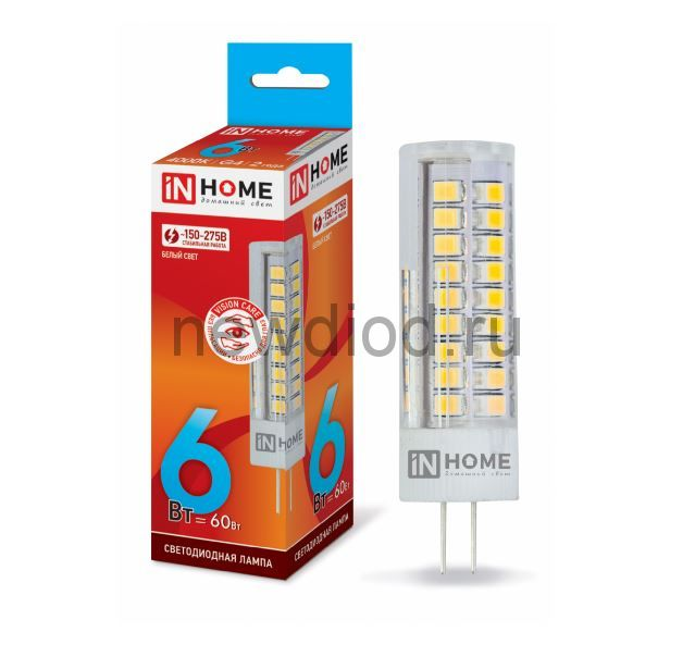 Лампа сд LED-JCD-VC 6Вт 230В G4 4000К 540лм IN HOME