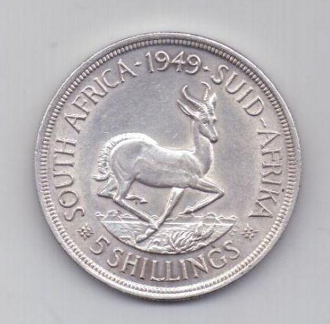 5 шиллингов 1949 года AUNC ЮАР Великобритания