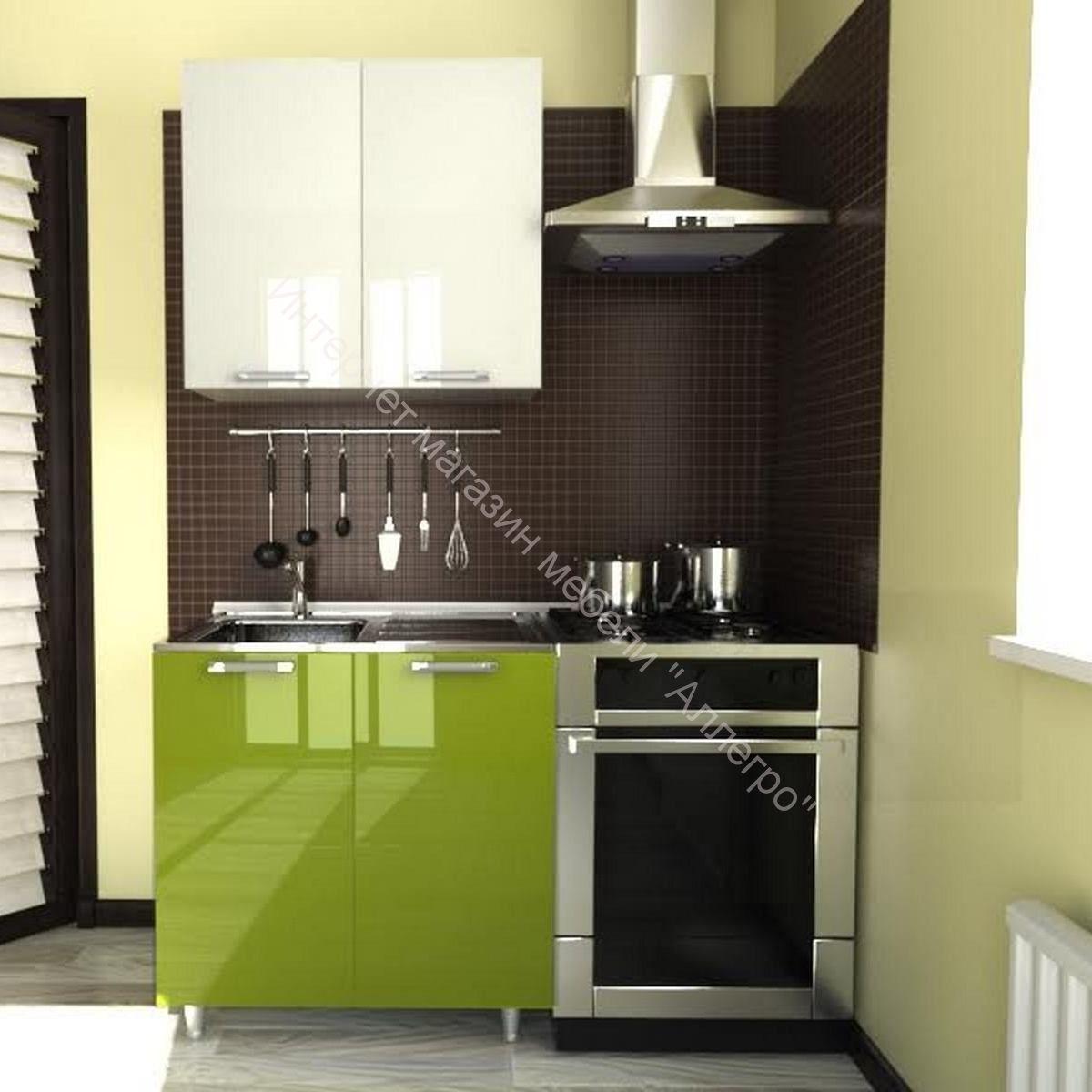 Кухня Умница Белый глянец-Олива МДФ