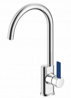 Смеситель для кухни под питьевую воду BUTTON, хром/синий, d-35 монтаж - гайка