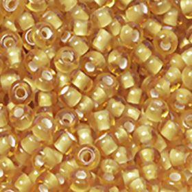 Бисер чешский 15056 прозрачный желтый белая линия внутри Preciosa 1 сорт