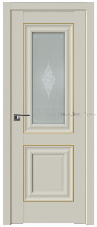 28U МАГНОЛИЯ САТИНАТ Стекло Кристалл молдинг Золото - PROFIL DOORS межкомнатные двери