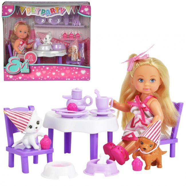 ЕВИ Кукла с набором  День рождения питомцев 12 см