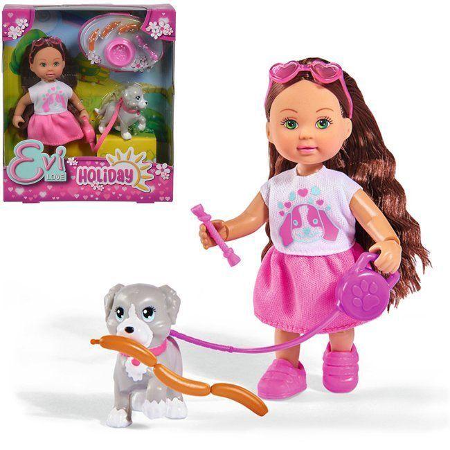 ЕВИ Кукла с собачкой и аксессуарами Holiday 12 см