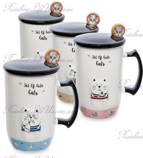 """Чашка с крышкой и ложечкой """"Забавный кот"""""""
