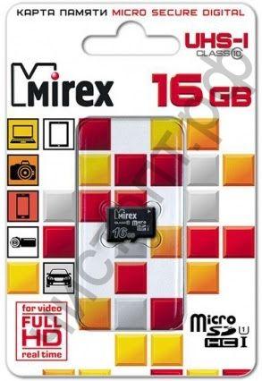 Карта памяти micro SDHC 16GB Mirex Class 10 UHS-I без адаптера