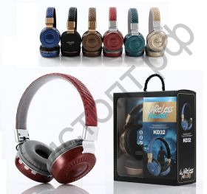 Bluetooth гарнитура стерео KD-32, MP3, FM, Control Talk большие
