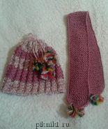 Шапка и шарф с бубонами с люрексом