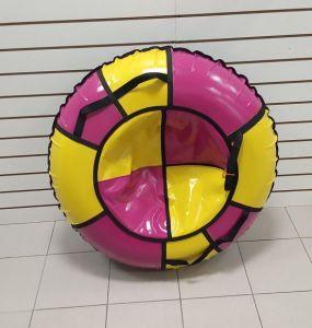 Тюбинги 110 см ПВХ взрослым и детям розово желтые (4 ручки)