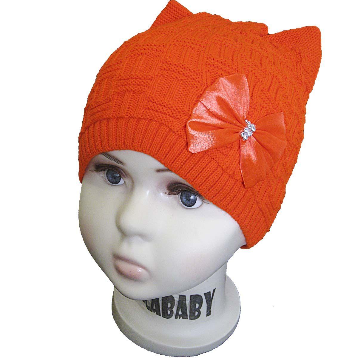 вд1075-41 Шапка рельефной вязки плетенка с бантом оранжевая