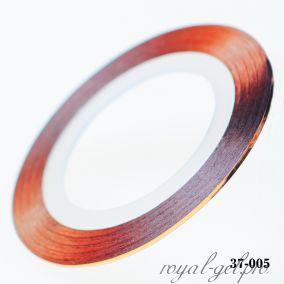 Клейкая лента для дизайна ногтей красное золото толщина 1 мм. 20 м.