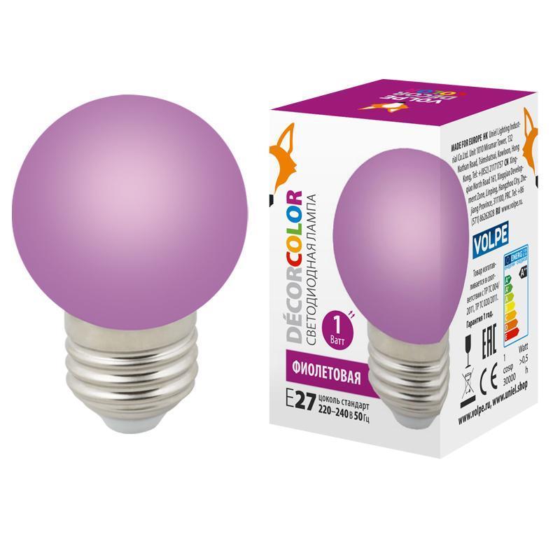 Лампа декоративная светодиодная (UL-00005652) Volpe E27 1W фиолетовая LED-G45-1W/PURPLE/E27/FR/С