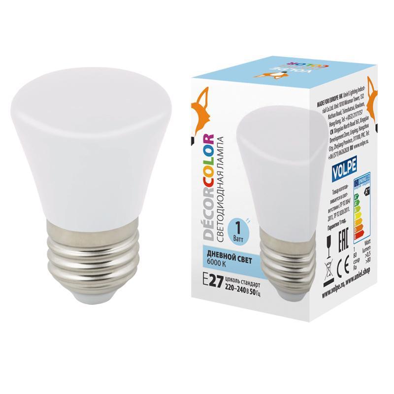 Лампа декоративная светодиодная (UL-00005804) Volpe E27 1W 6000K матовая LED-D45-1W/6000K/E27/FR/С BELL