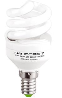 Лампа энергосберегающая Наносвет E14 9W 2700K матовая ES-SPU09/E14/827 E079