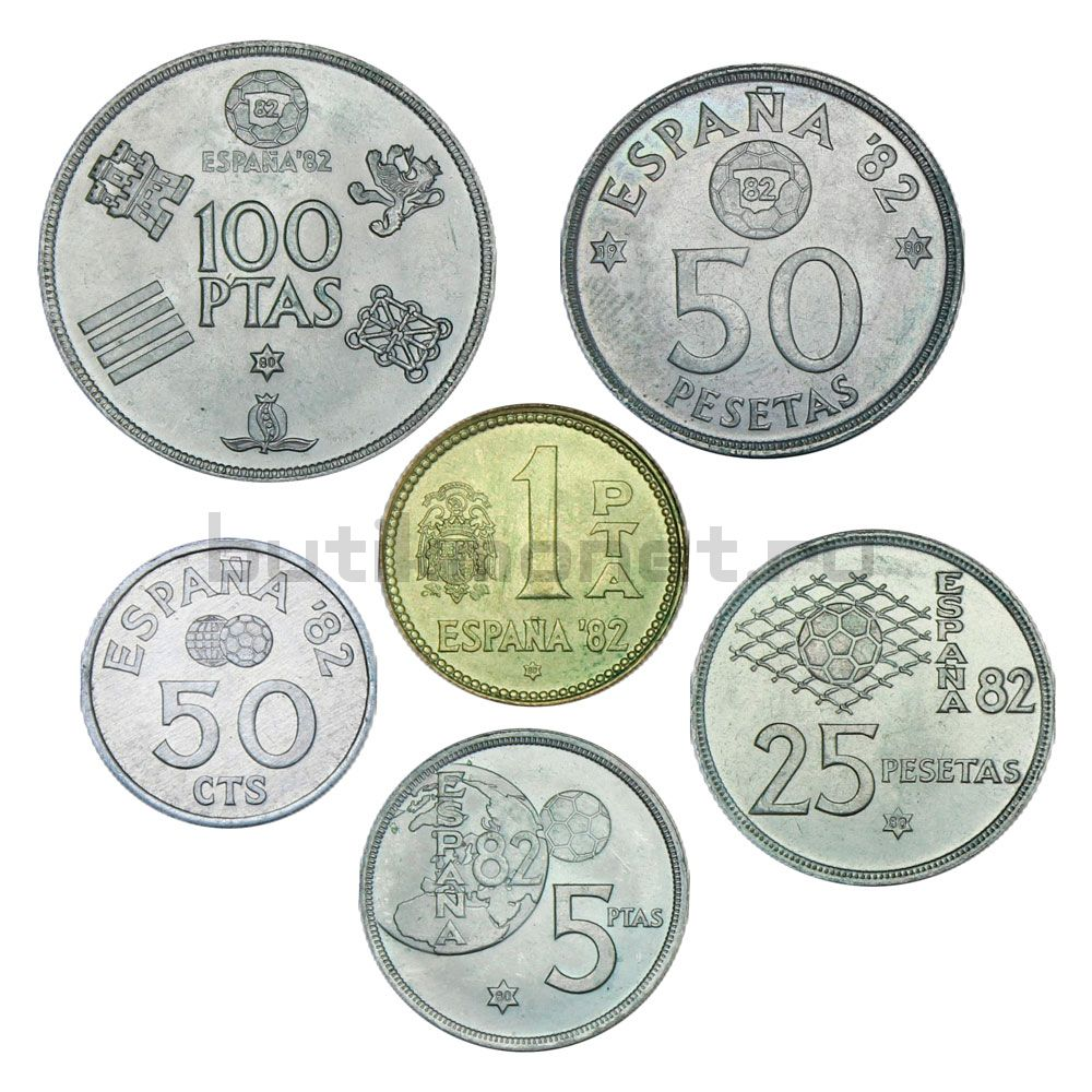 Набор монет 1980 Испания Чемпионат мира по футболу 1982 (6 штук)