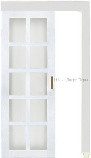 """Раздвижная дверь """"Верона 3"""" английская решетка стеклянная экошпон"""