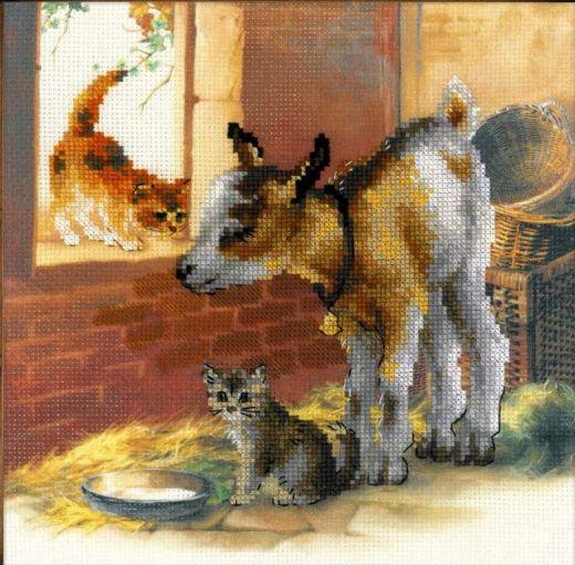 Набор для вышивания крестом Козленок и котята РТ 0053 фирма Риолис