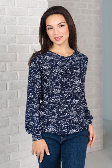 Блуза женская арт.0143-09 темно-синий, масло с начесом
