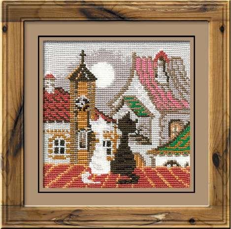 Набор для вышивания крестом Город и кошки. Весна №611 фирма Риолис