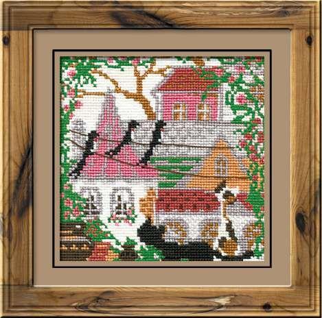 Набор для вышивания крестом Город и кошки. Лето №612 фирма Риолис