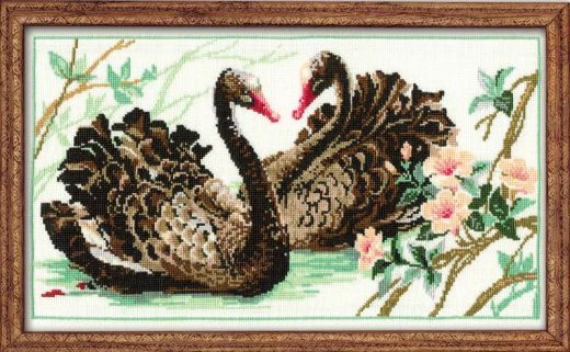 Набор для вышивания крестом Черные лебеди №806 фирма Риолис
