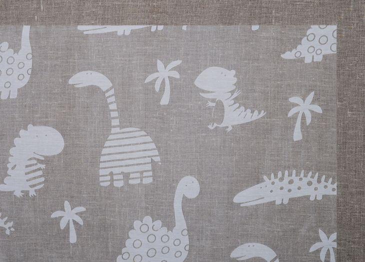Штора с выжженным узором Динозаврики белая 145*250 61105