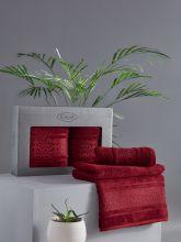 Комплект из 2-х бамбуковых полотенец ARMOND 50*90+70*140 (бордовый) Арт.3451-2