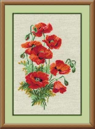 Набор для вышивания крестом Полевые маки №808 фирма Риолис