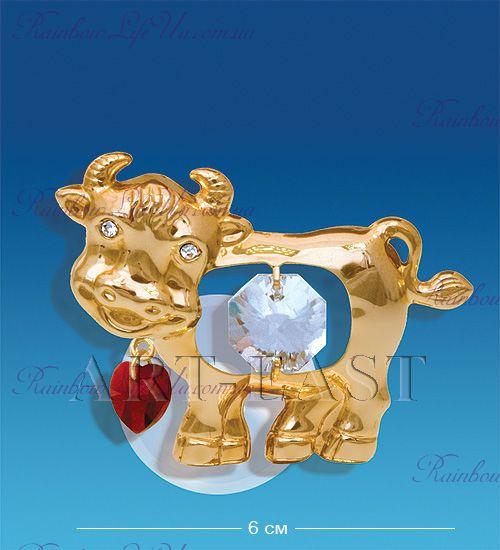 "Фигурка - магнит бык с сердечком с камнями ""Swarovski"""