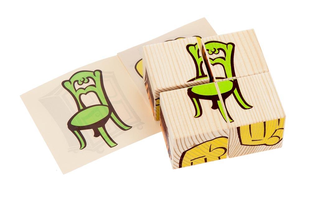"""Кубики """"Мебель"""" 4 элемента"""