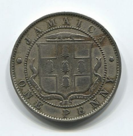 1 пенни 1909 года Ямайка