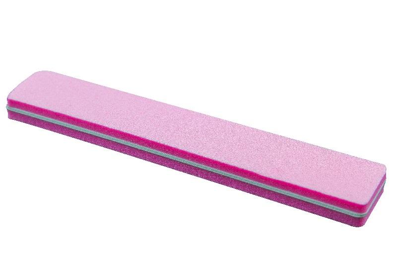 Блок шлифовочный прямоугольный 100/180 (широкий, розовый) Корея уп.10шт