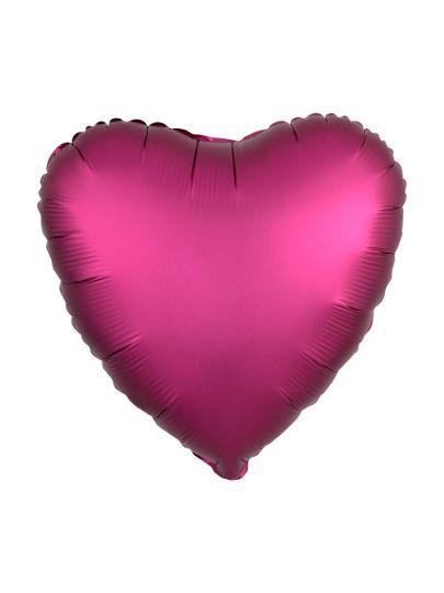 Сердце Сатин Гранат шар фольгированный с гелием