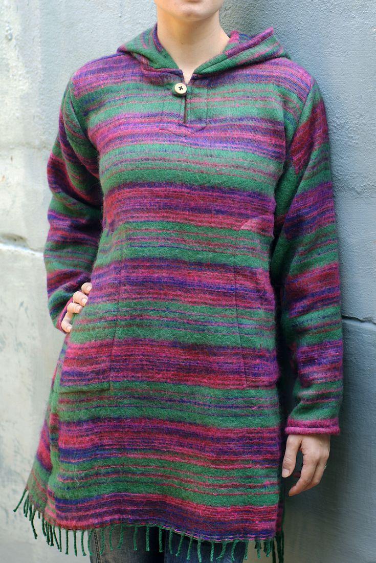 СИНЕЕ Тёплое платье с треугольным капюшоном (отправка из Индии)