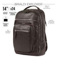 Стильный деловой рюкзак BRIALDI Explorer (Эксплорер) relief brown