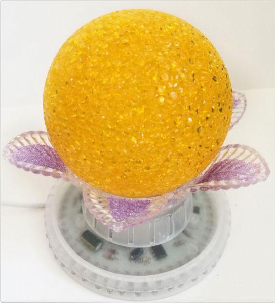 Ночник-светильник Лилия Желтый Шар 14 см, Сиреневые листья