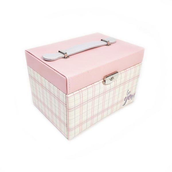 Шкатулка для ювелирных изделий Сундучок Be You, 20х15х14 см, цвет розовый