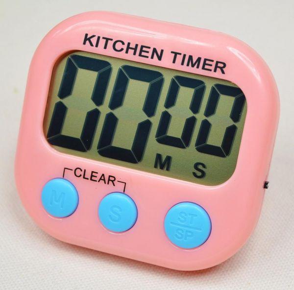 Кухонный электронный таймер с подножкой и магнитом XL103, цвет розовый