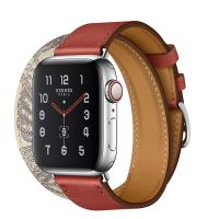 Apple Watch Hermes Series 5 40mm Stainless Steel GPS + Cellular Brique/Beton with Leather Double Tour