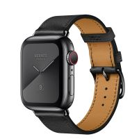 Apple Watch Hermes Series 5 44mm Stainless Steel GPS + Cellular Space Black with Leather Single Tour