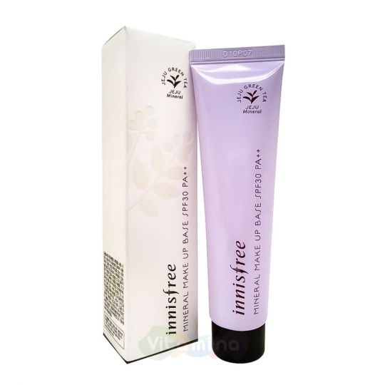 Innisfree Лавандовая минеральная корректирующая база праймер под макияж Mineral Make Up Base Cream Purple SPF30/PA++, 40 мл