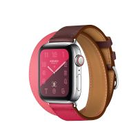 Apple Watch Hermes Series 5 40mm Stainless Steel GPS + Cellular Bordeaux/Rose Extreme/Rose Azalee Swift Leather Double Tour
