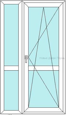 Балконная дверь с полкой 1200 мм стеклянная с горизонтальной перемычкой посередине