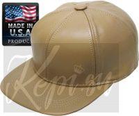 Бейсболка кожаная с прямым козырьком Хаки (K&B, США)