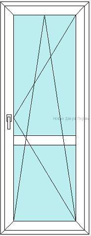 Балконная дверь полностью стеклянная с горизонтальной перемычкой посередине